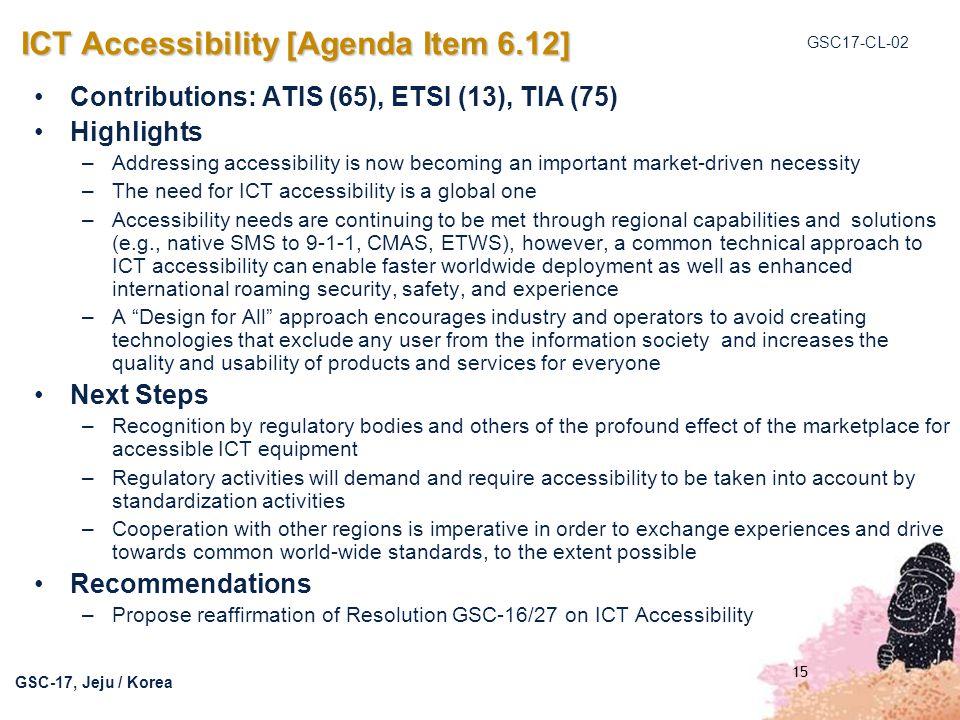 ICT Accessibility [Agenda Item 6.12]